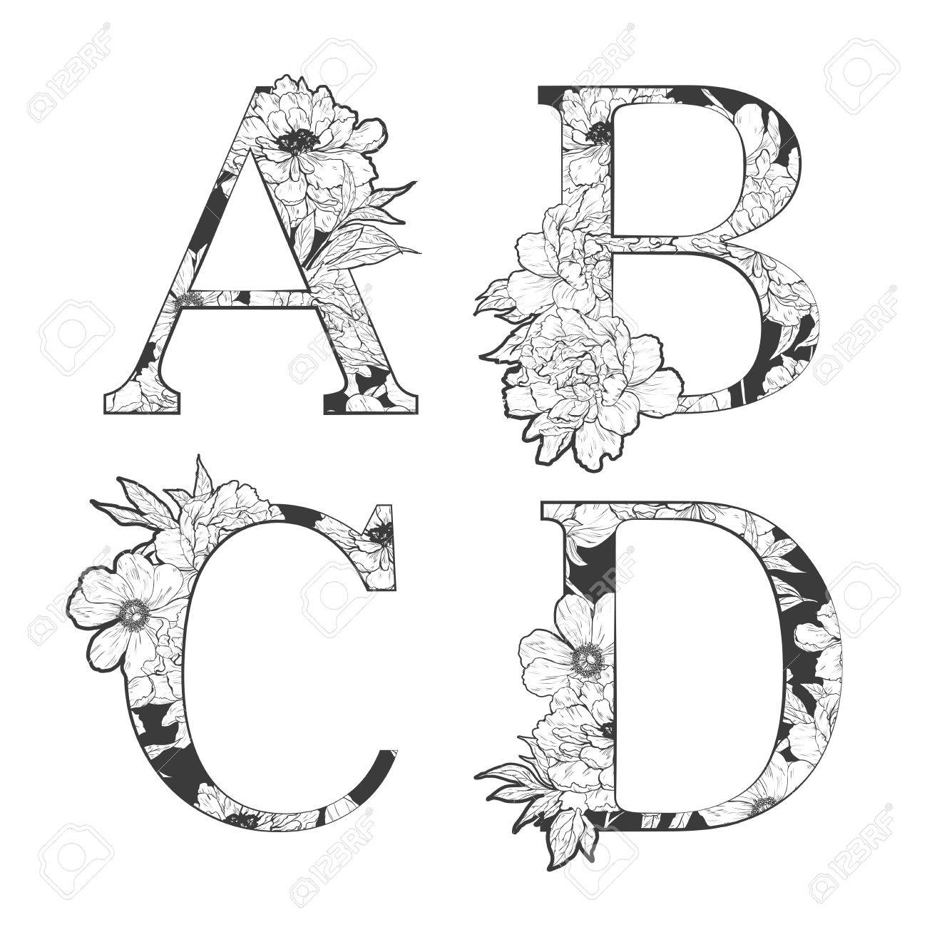 flower alphabet. Tattoo art, coloring books. Isolated on white background. Check my portfolio for other letters. - 52783001