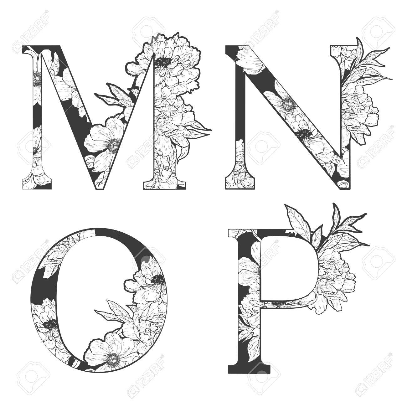 flower alphabet. Tattoo art, coloring books. Isolated on white background. Check my portfolio for other letters. - 52782998