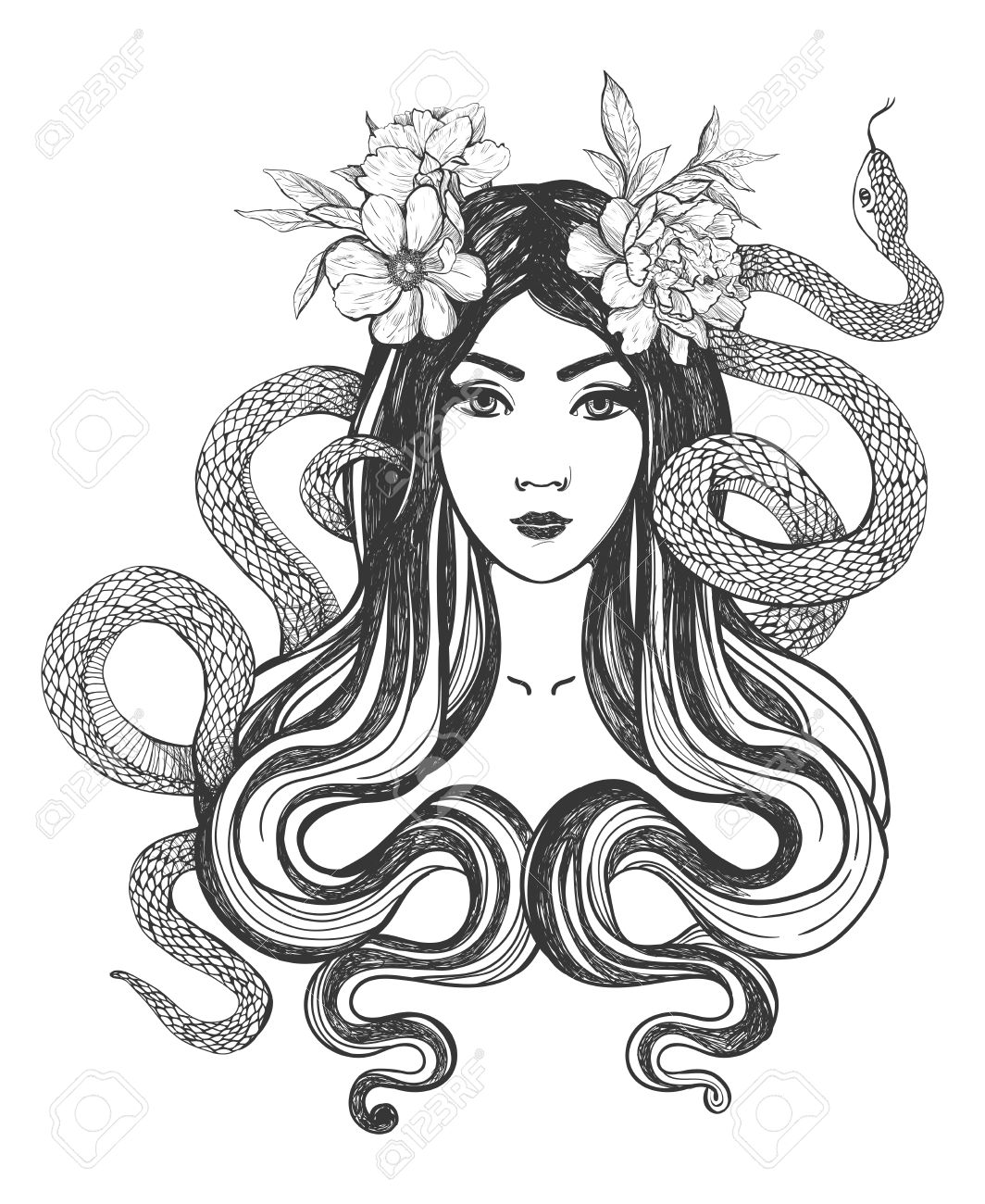 Woman with flowers and snakes. Tattoo art, coloring books. illustration Isolated on white background. - 52783008