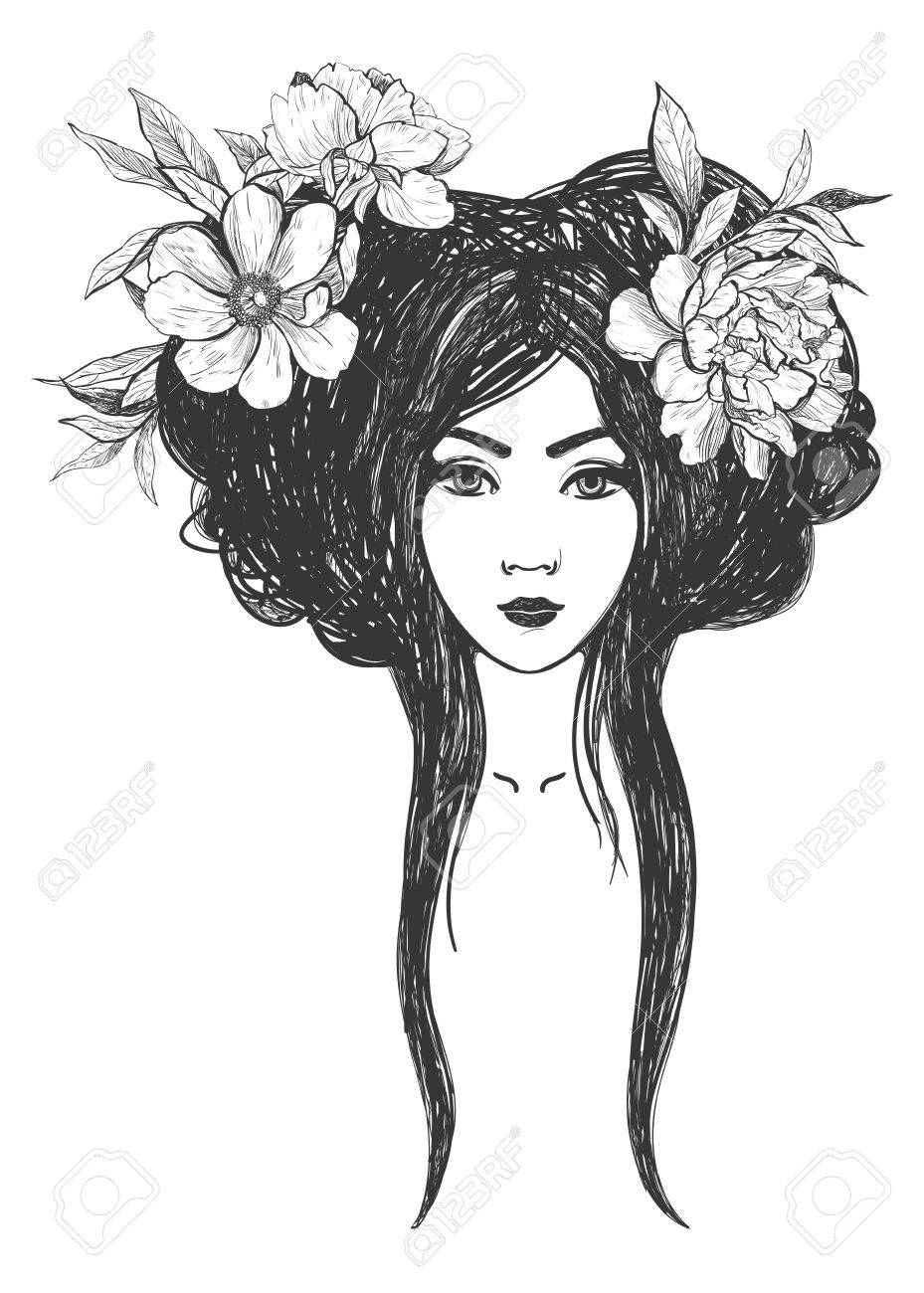 Woman with flowers. Tattoo art, coloring books. illustration Isolated on white background. - 52783009
