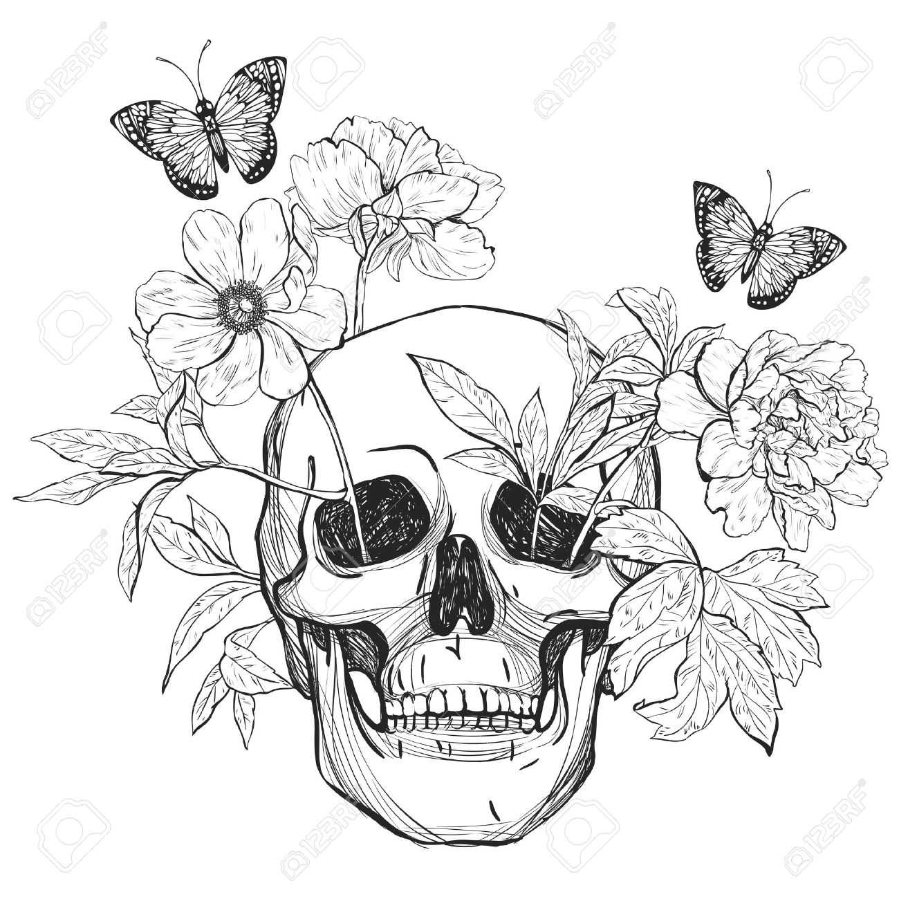 Skull Flowers And Butterfly Tattoo Art Coloring Books Vintage Illustration Isolated On