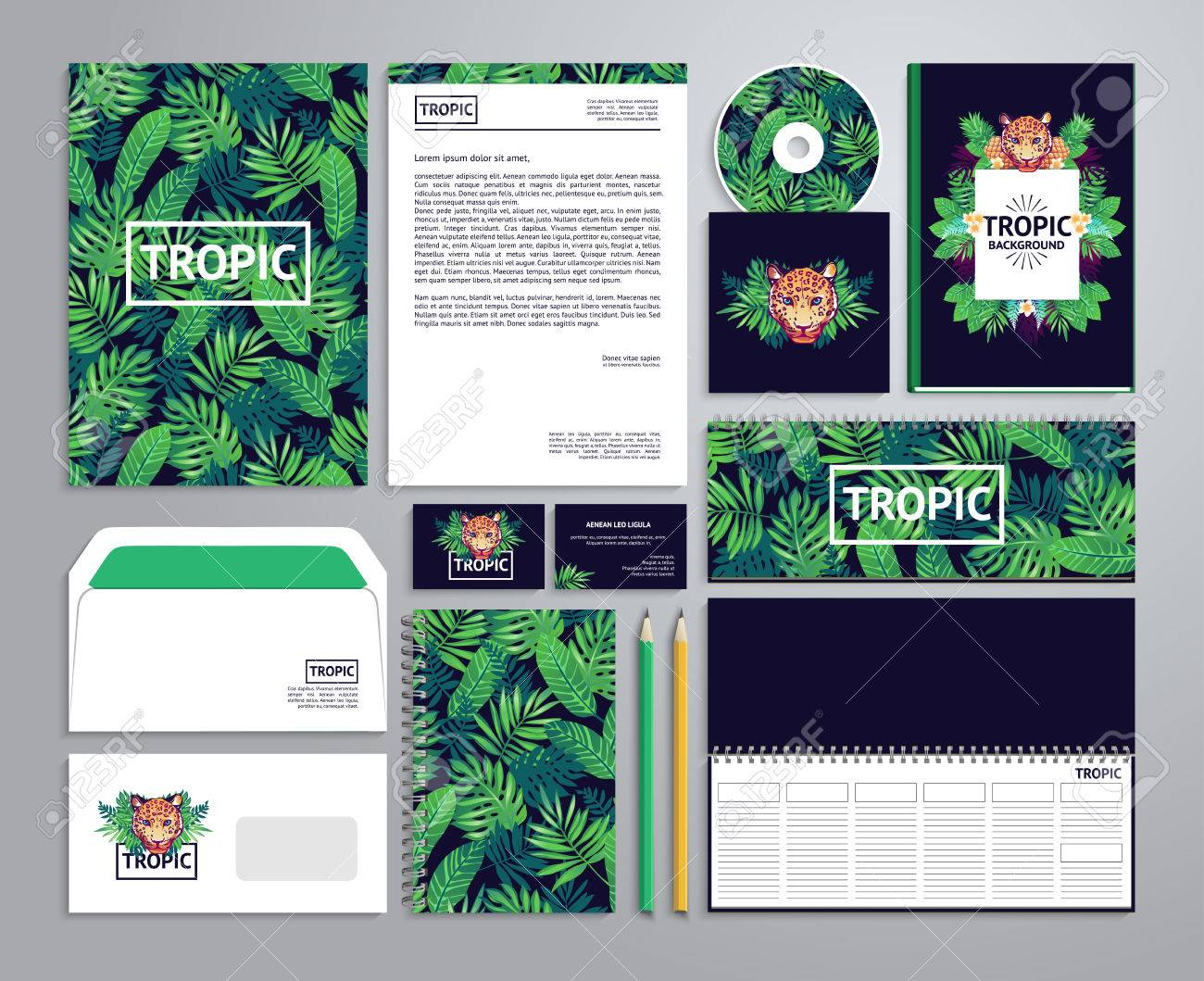 Corporate identity templates in tropical style with notepad, disk, package, label, envelope etc. - 52783301