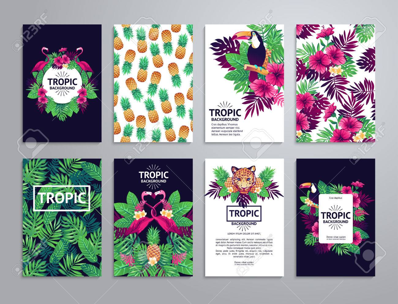 Tropical printable set. cards, notes and with toucan, leopard, exotic flowers and fruits. - 52783304
