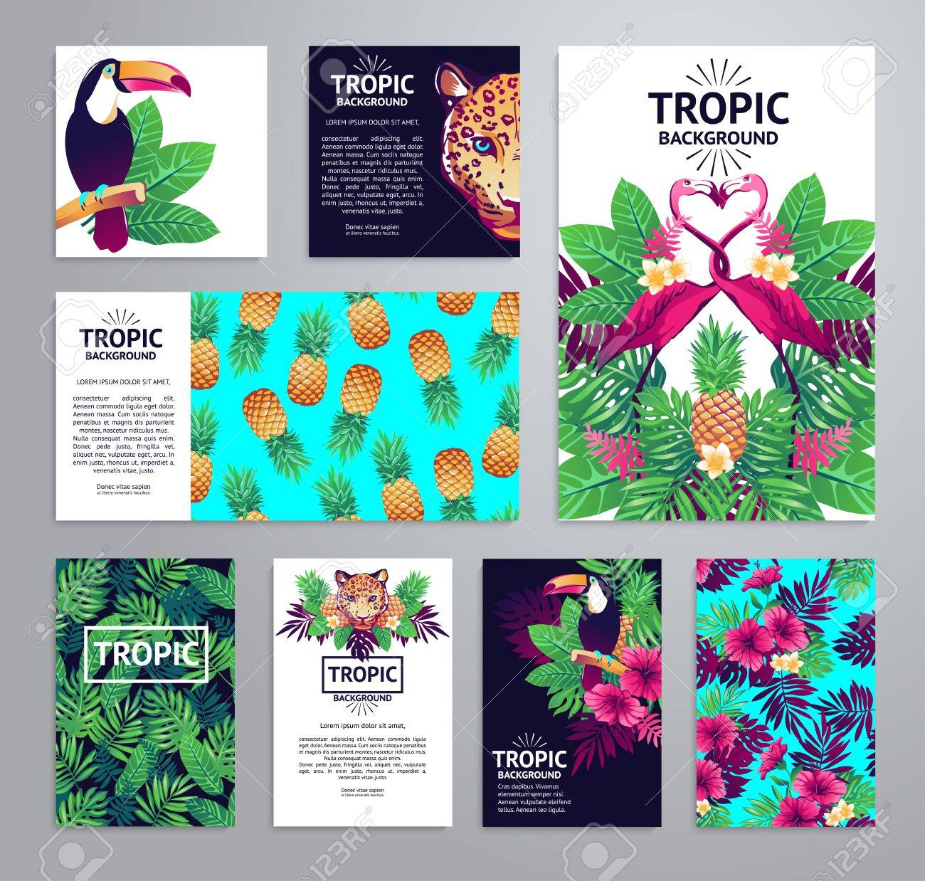 Tropical printable set. cards, notes and with toucan, leopard, exotic flowers and fruits. - 52783296