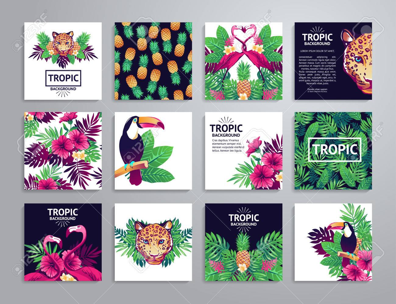 Tropical printable set. cards, notes and with toucan, leopard, exotic flowers and fruits. - 52783298