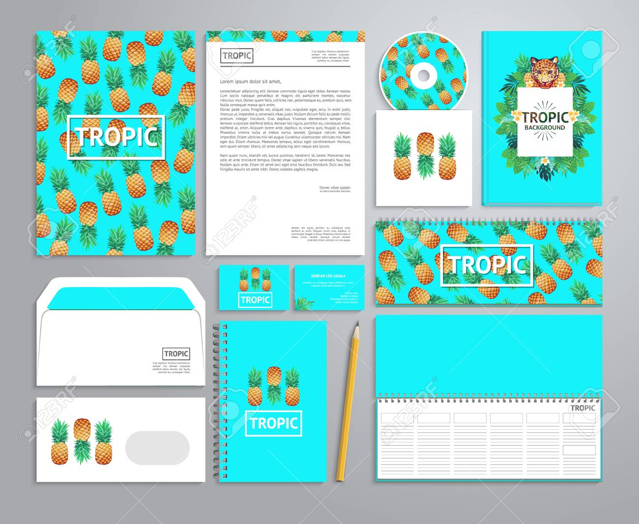 corporate identity templates in tropical style with notepad