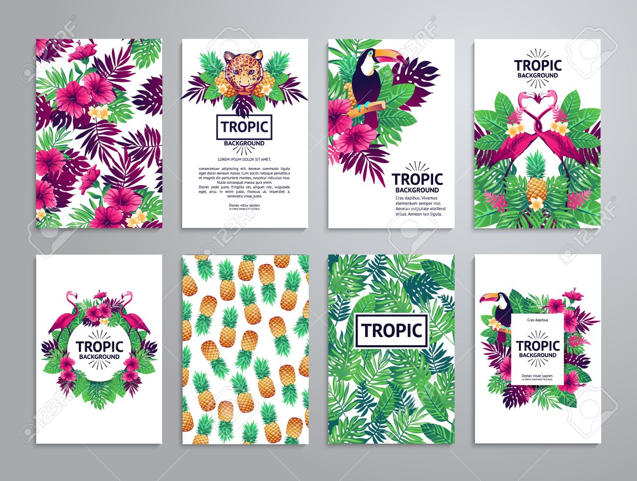Tropical printable set. cards, notes and banners with toucan, leopard, exotic flowers and fruits. - 54122710