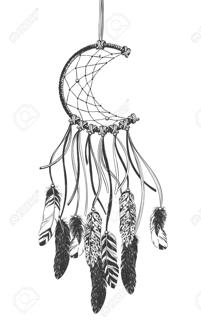 Dreamcatcher with feathers. Native American Indian talisman. - 60229430