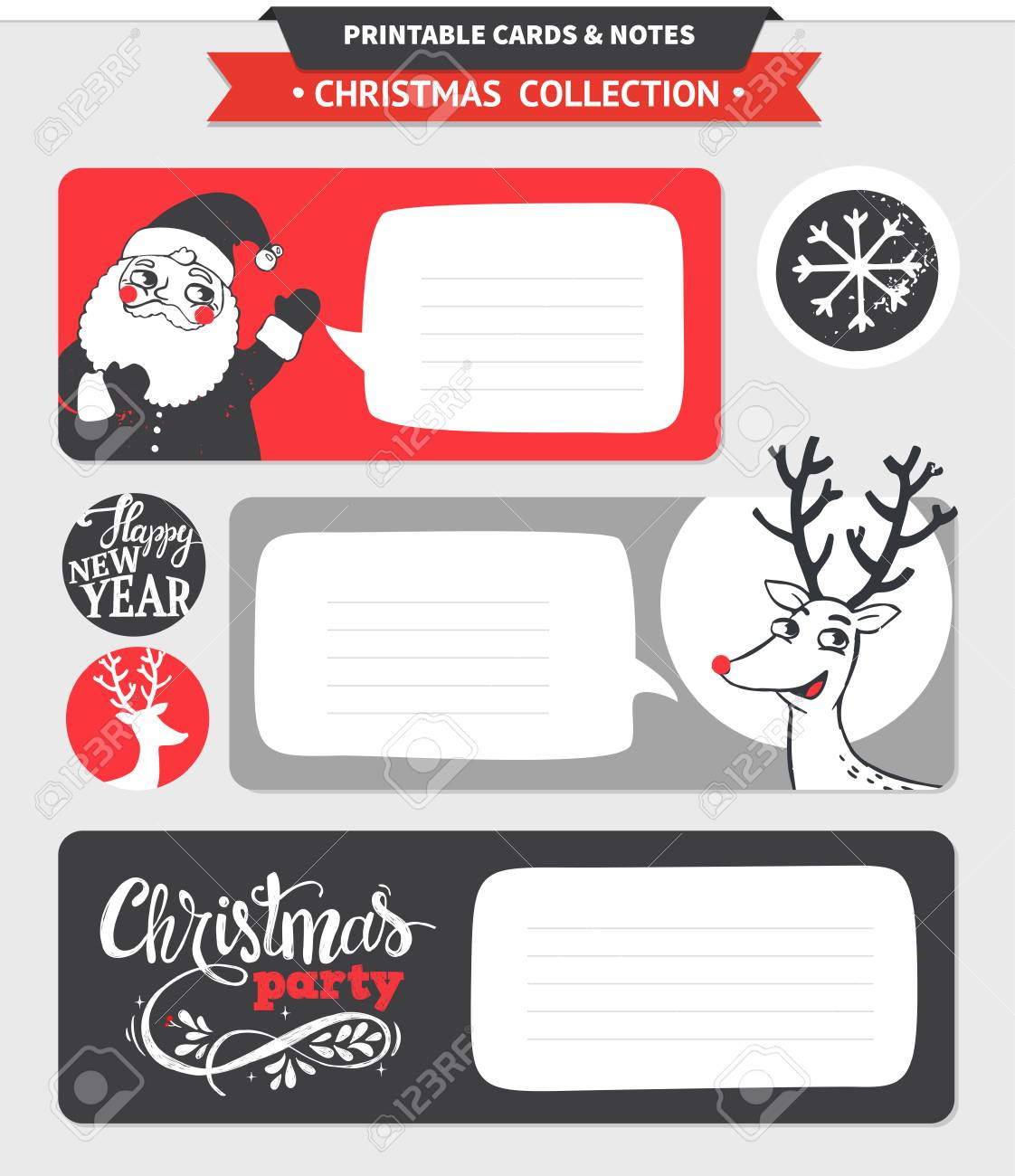 hipster new year and merry christmas set vector printable cards stickers and banners with