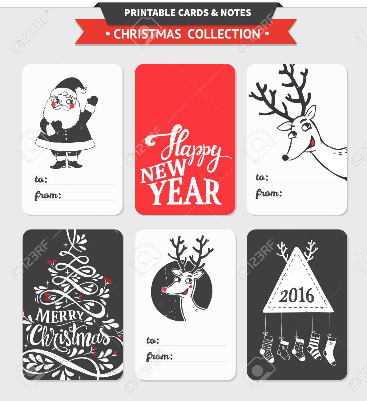 photograph regarding Merry Christmas Sign Printable known as Hipster Refreshing 12 months and Merry Xmas mounted. Vector printable playing cards,..