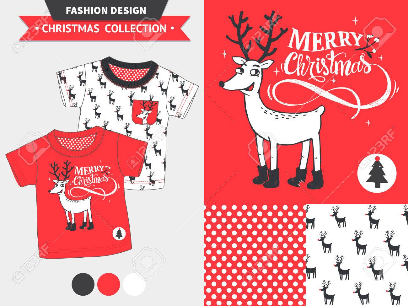 Hipster Merry Christmas Fashion Design Set For Baby And Kids ...