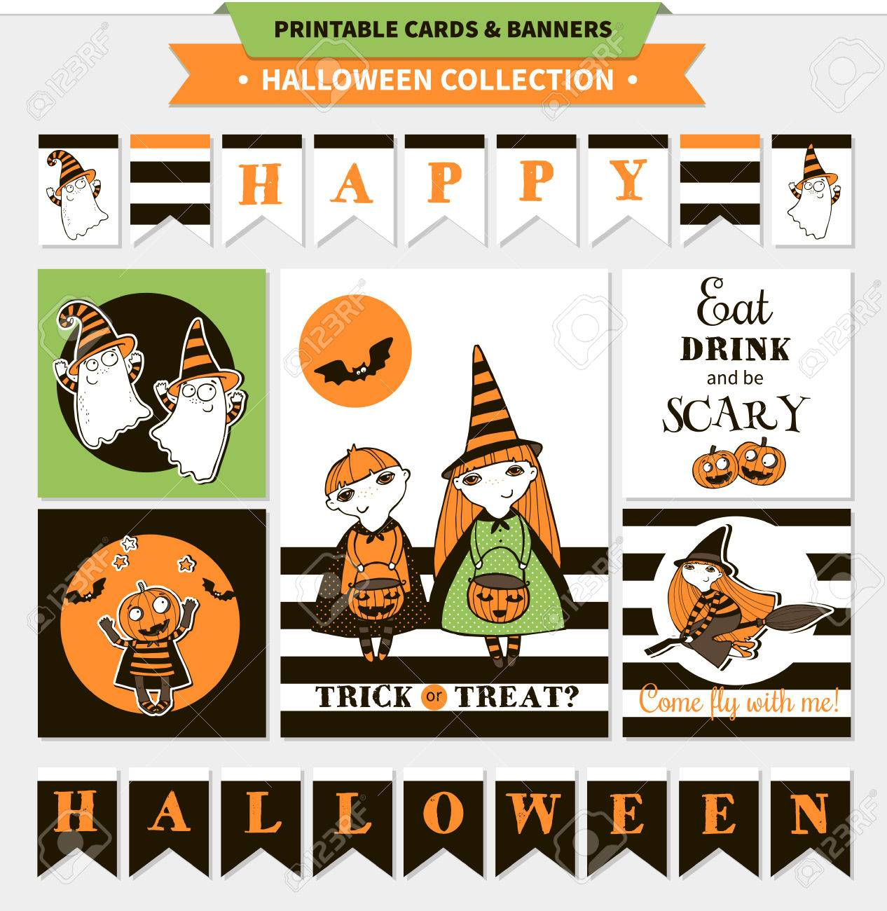 picture about Printable Halloween Banners called Halloween printable vector playing cards and banners with cartoon amusing..