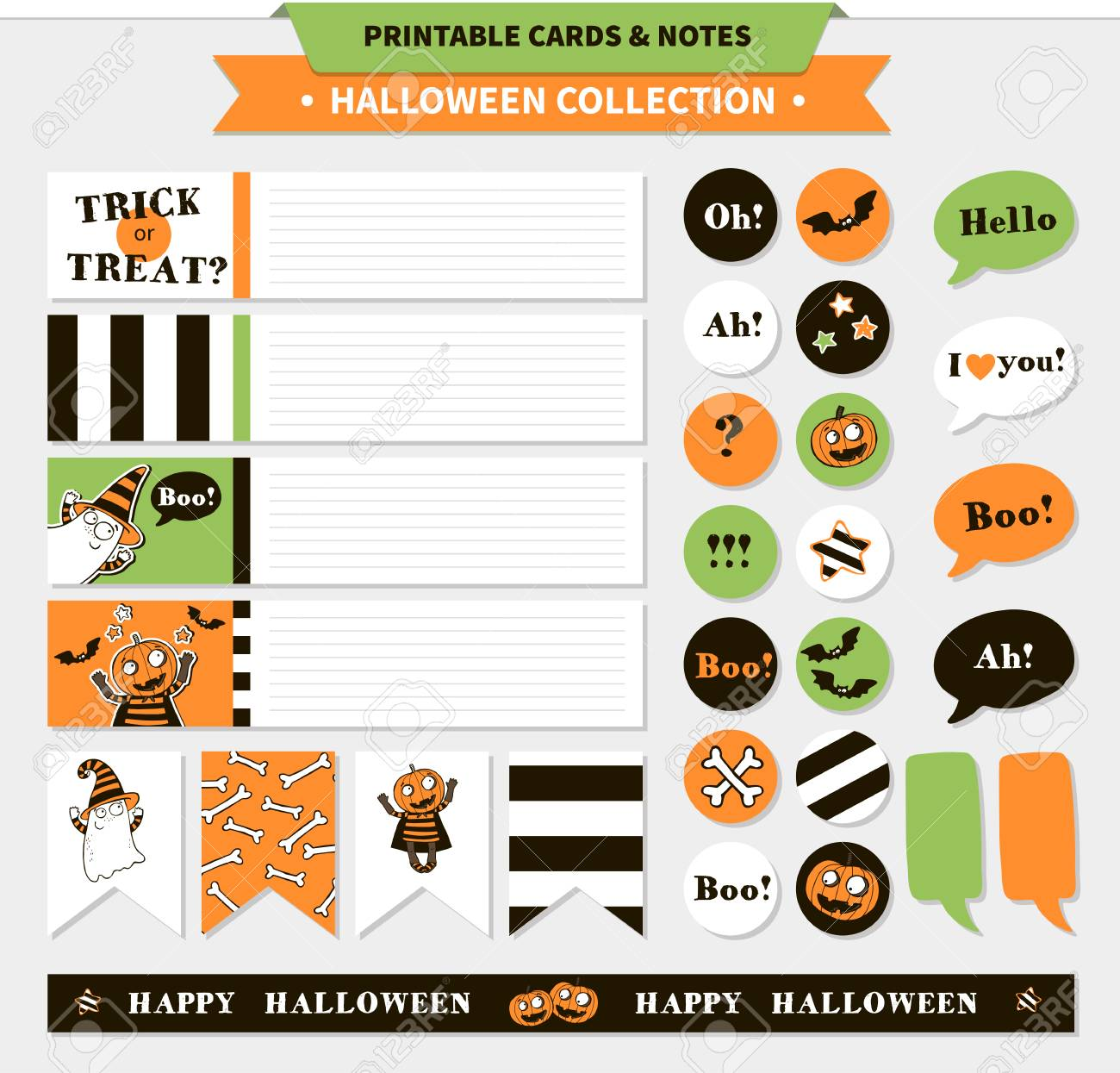 image regarding Halloween Stickers Printable identify Halloween printable vector playing cards, banners, stickers and notes..