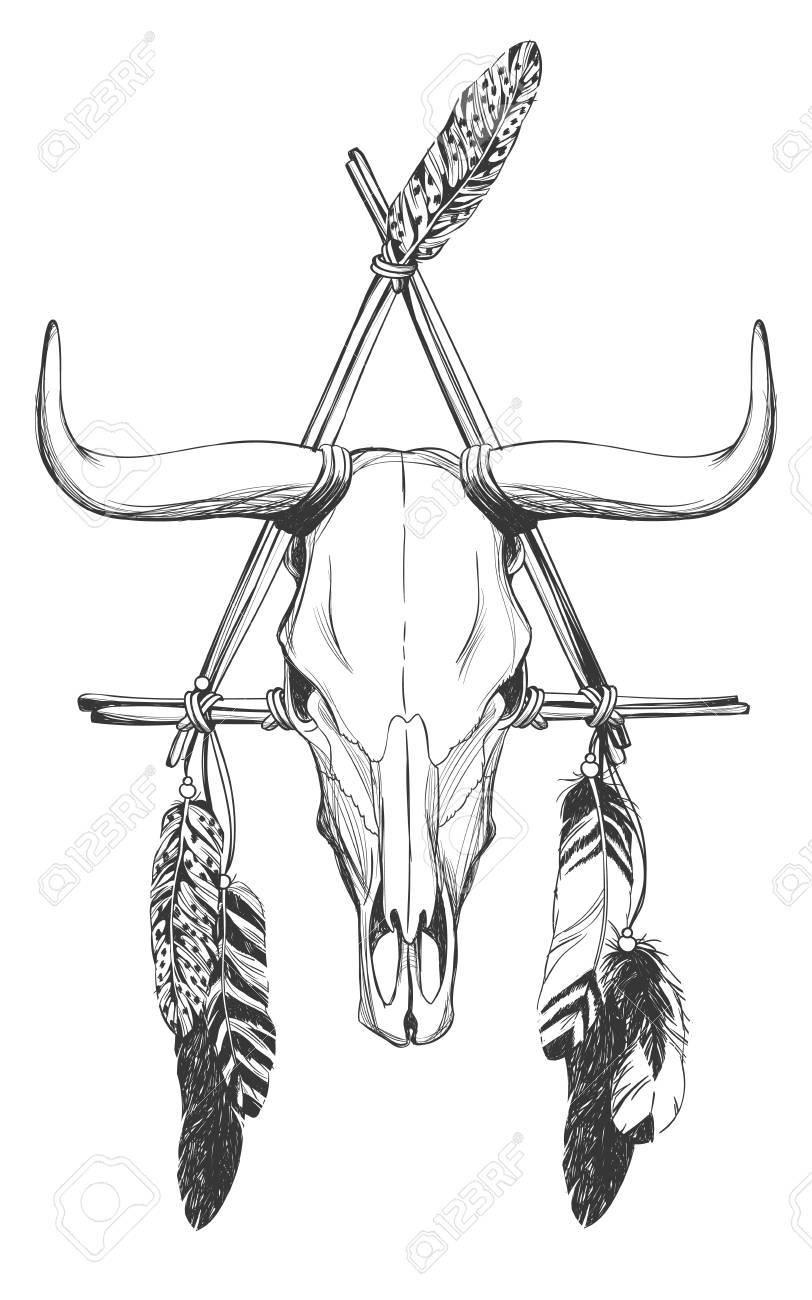 Calavera Con Plumas Y Atrapasueños. Talismán Indio Nativo Americano ...