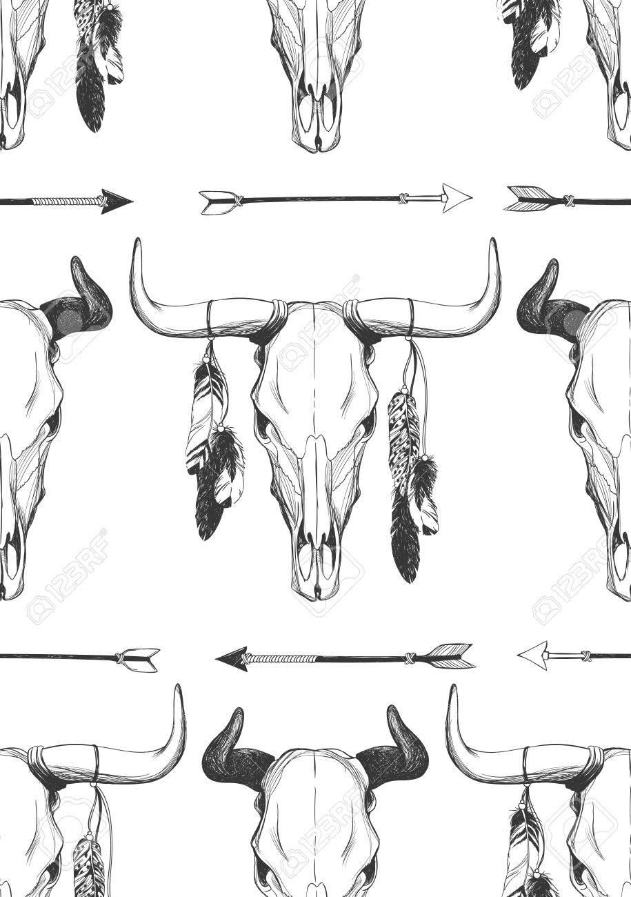 Cráneo De Toro Con Plumas Y Flechas Indio Nativo Americano Talismán Dibujado A Mano Hipster De Fondo Patrón De Vectores Sin Fisuras Diseño De