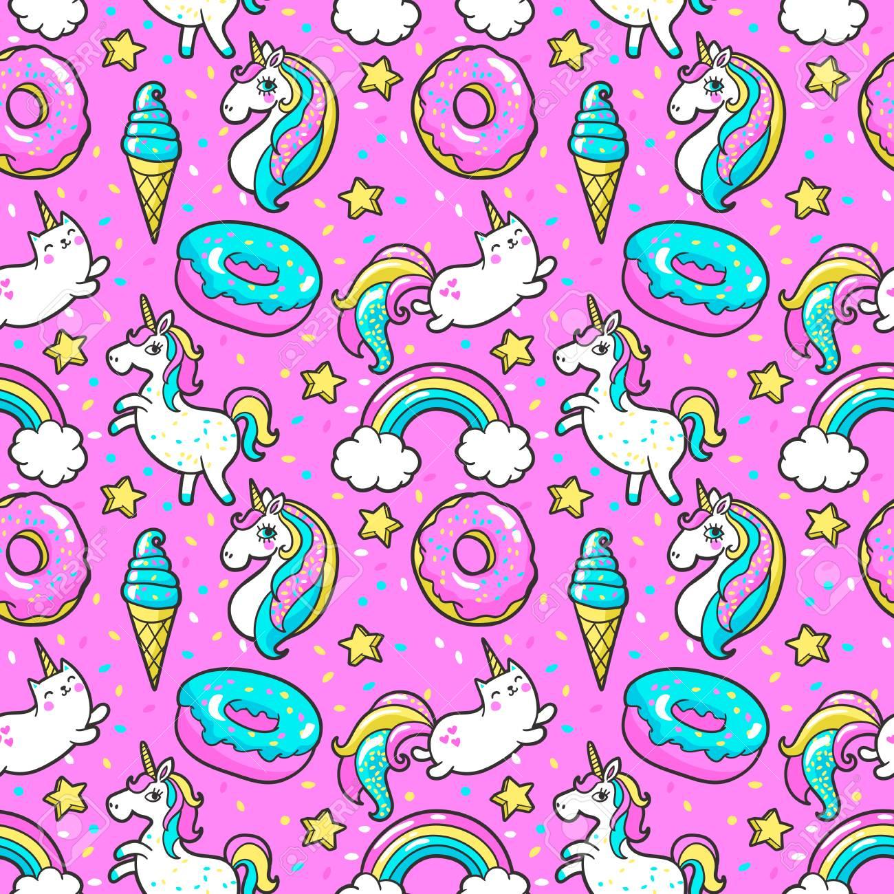 Seamless pattern in cartoon 80s-90s comic style. - 81122496