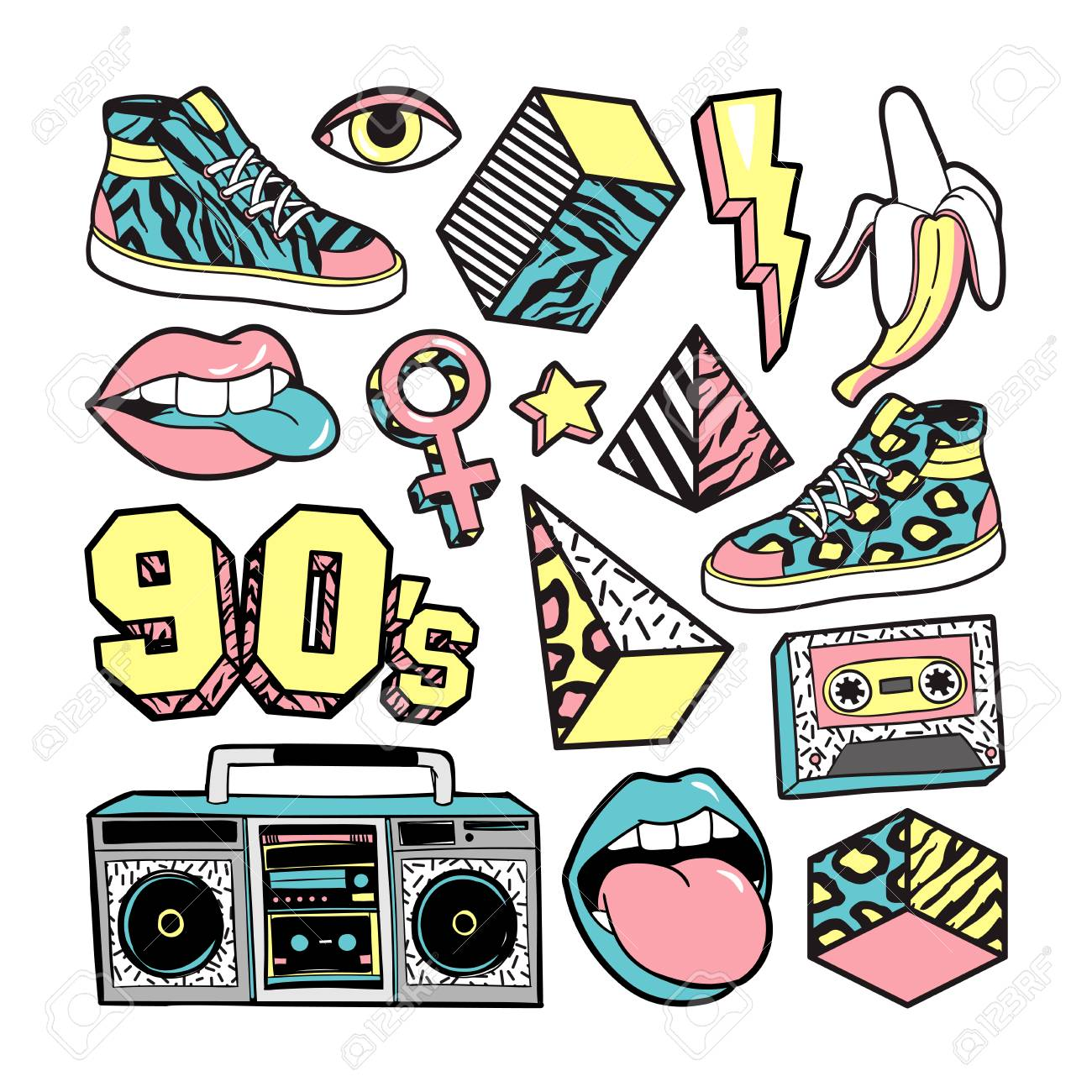 Fashion patches in in 80s-90s memphis style. - 81068650