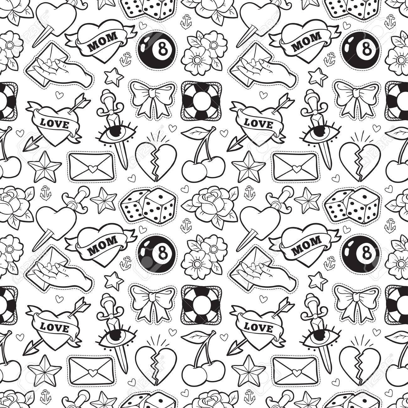 Old school seamless pattern in rockabilly style. - 81126292