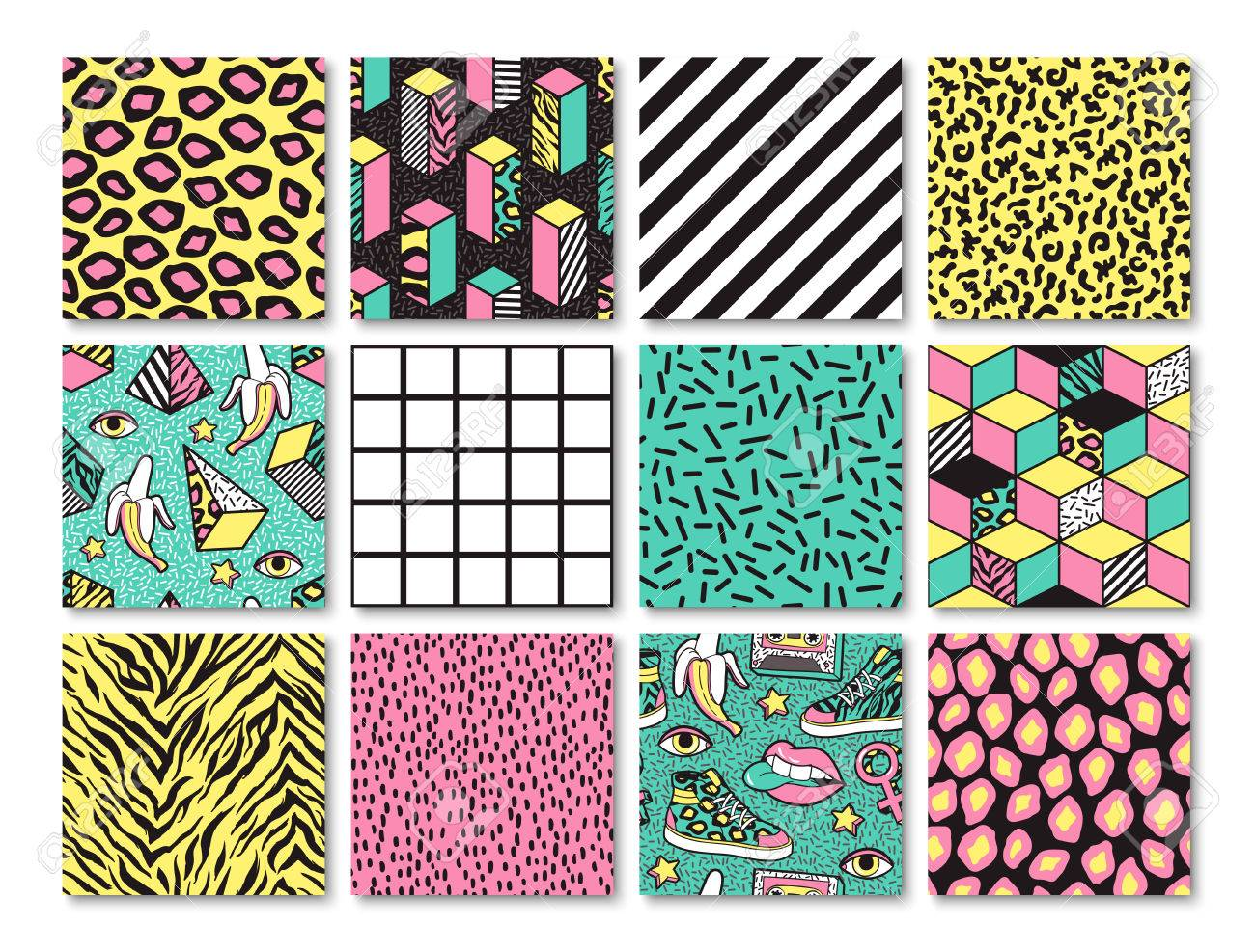 Set of seamless patterns in 80s-90s memphis style. - 81230169
