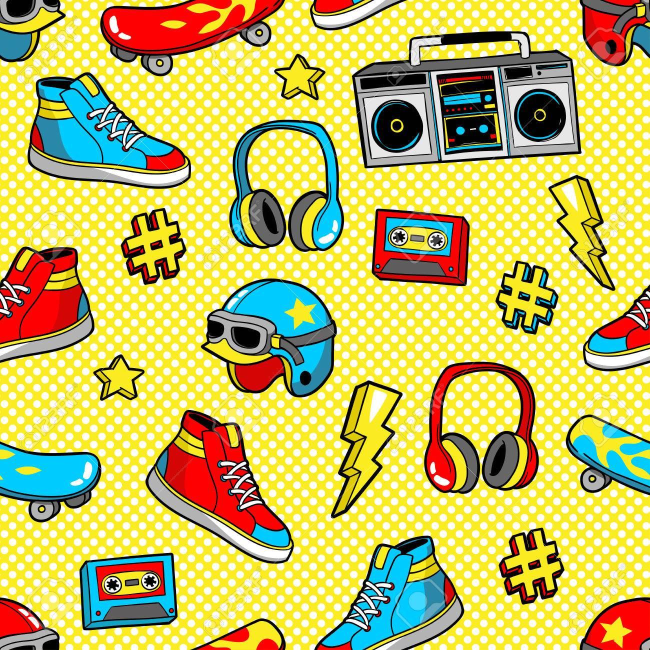 Seamless pattern in cartoon 80s-90s comic style. - 81388261