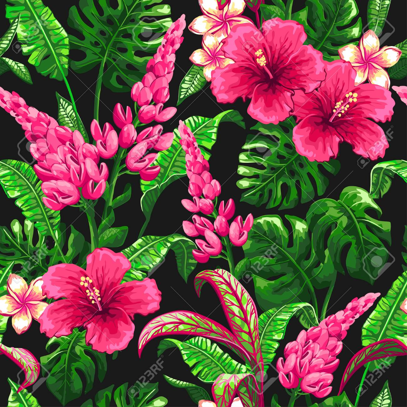 Tropical pattern with palm leaves. - 83872867