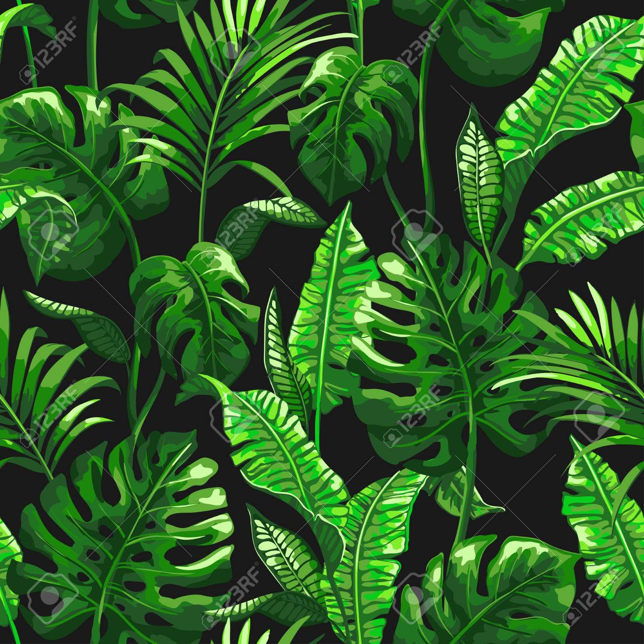 Tropical pattern with palm leaves. - 83872879