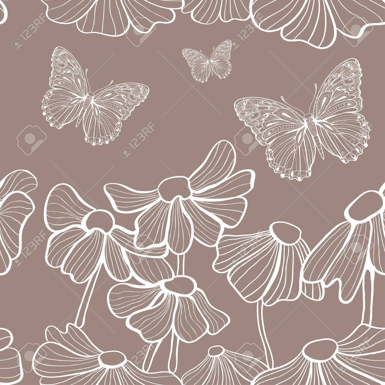 decorative white flowers and butterfly seamless Stock Photo - 18410990