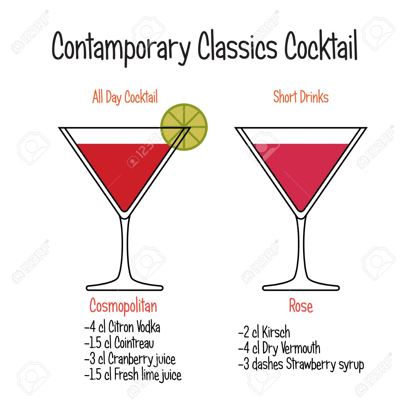 Cosmopolitan Cocktail And Rose Cocktail Vector Recipe Royalty Free Cliparts Vectors And Stock Illustration Image 117227218