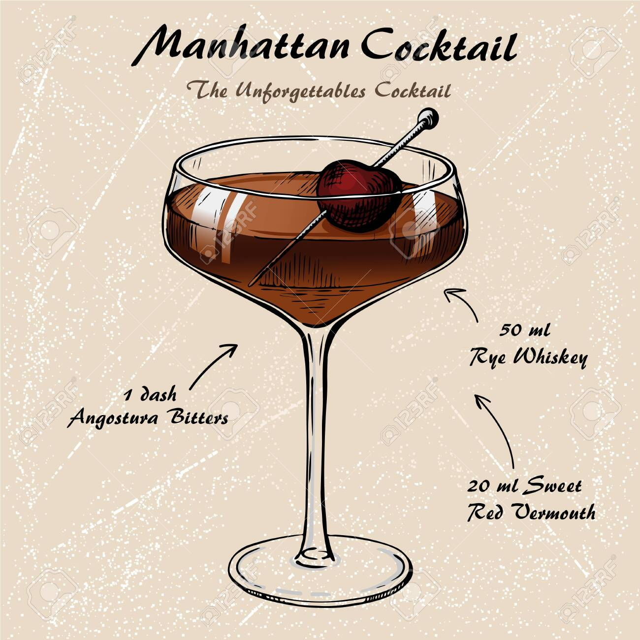 Manhattan Cocktail Recipe Vector Hahddrawn Illustration Sketch Royalty Free Cliparts Vectors And Stock Illustration Image 149829769