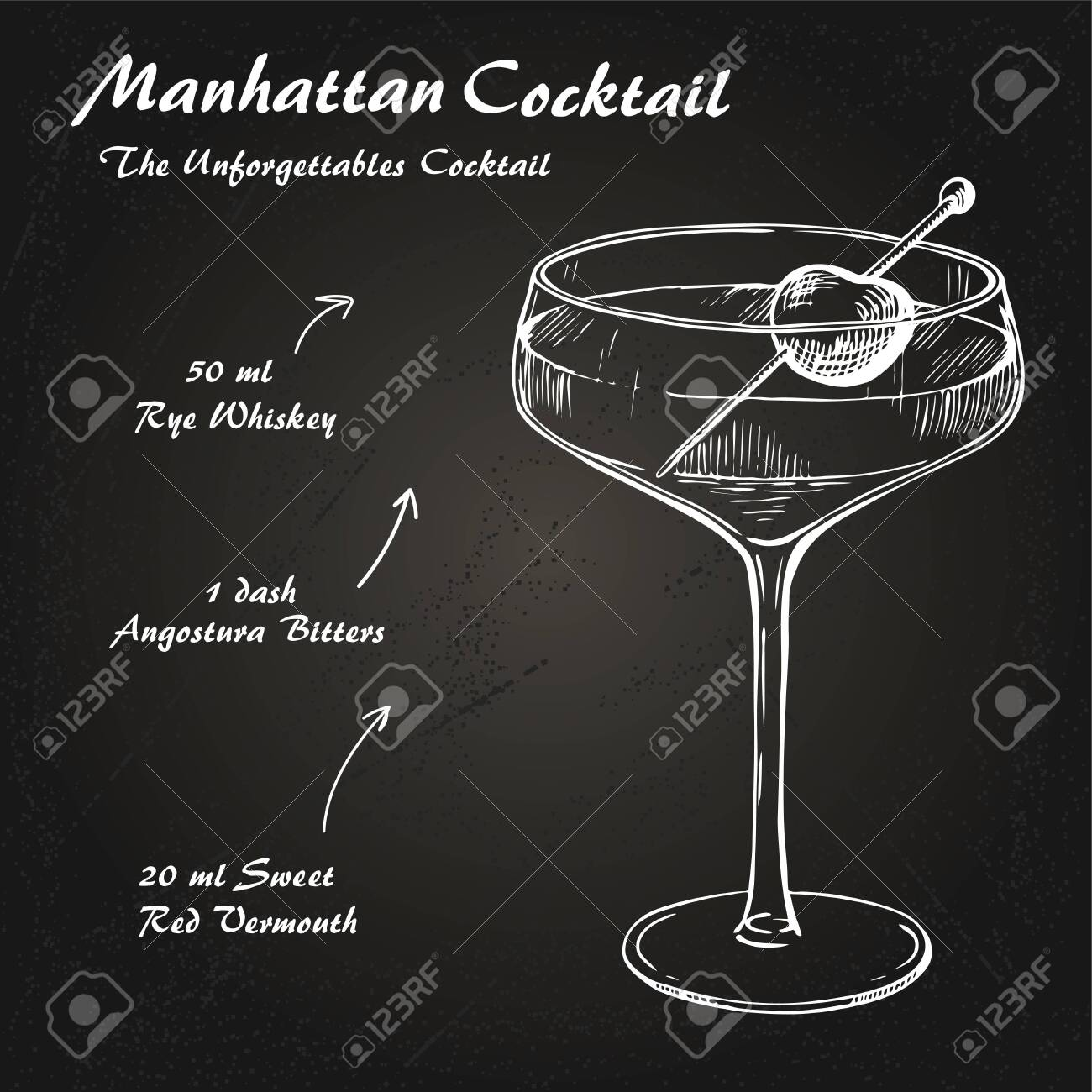 Manhattan Cocktail Recipe Vector Hahddrawn Illustration Sketch Royalty Free Cliparts Vectors And Stock Illustration Image 149829803