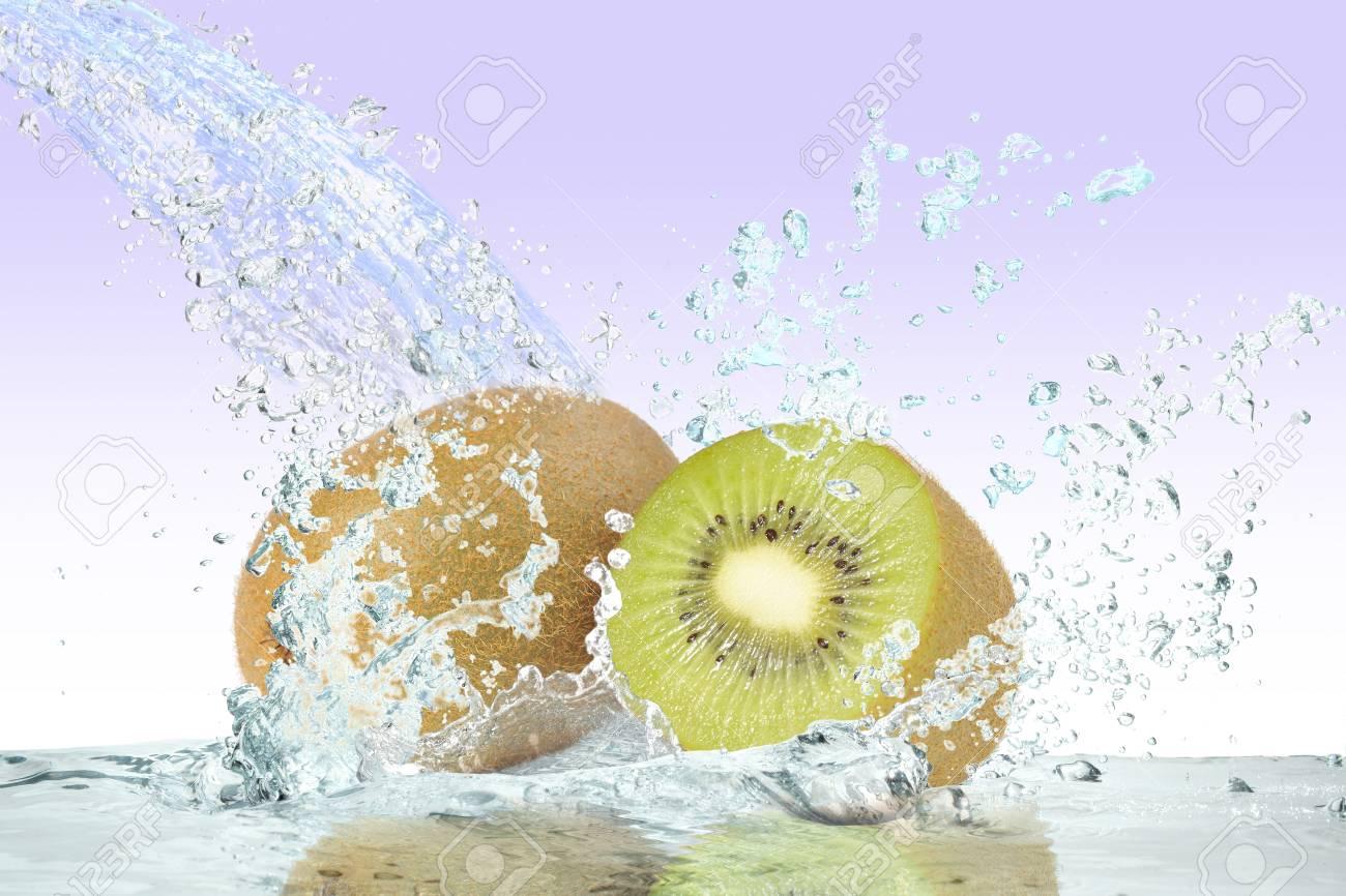 Kiwi fruit and water Stock Photo - 16185278