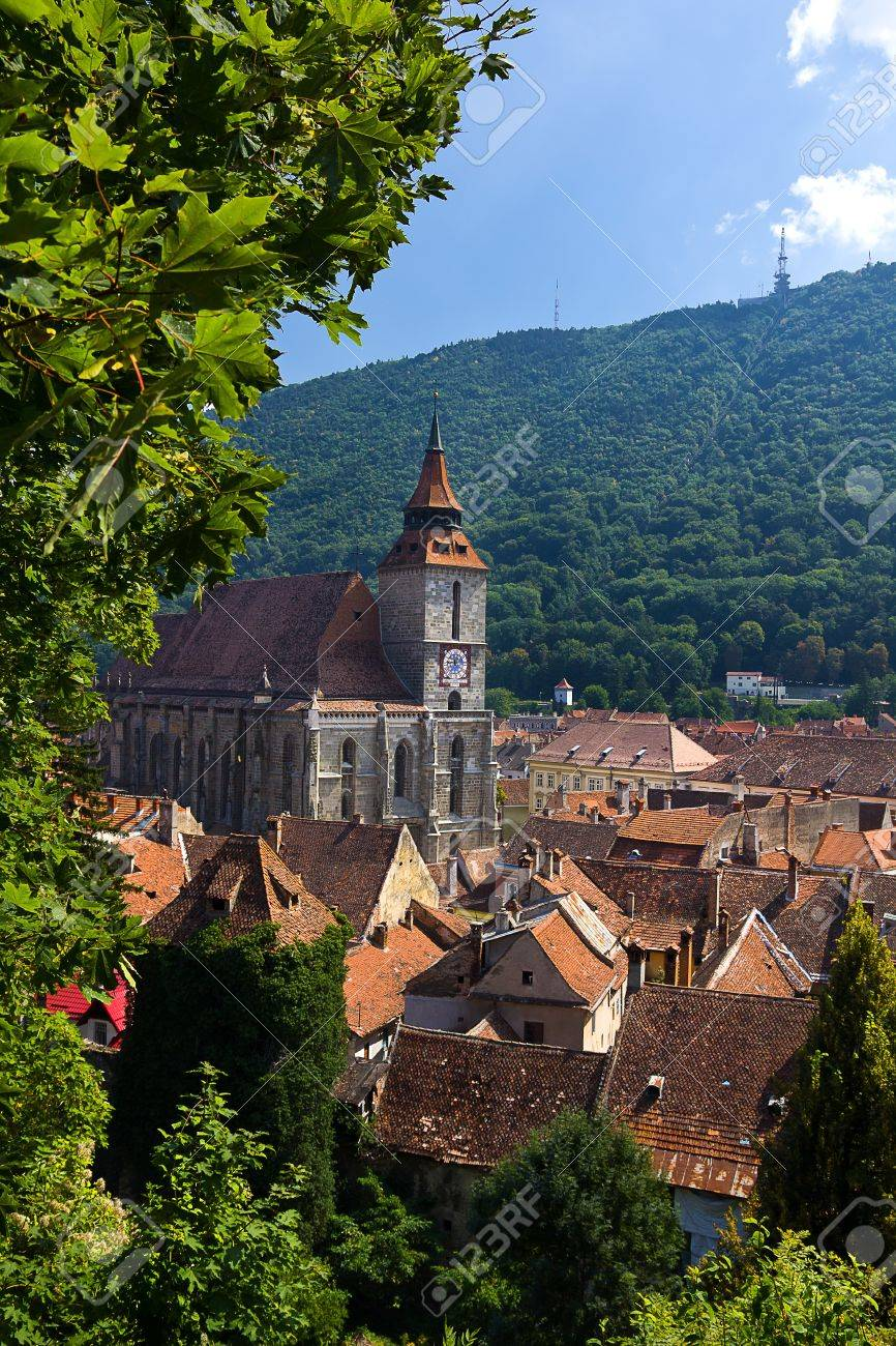Beautiful medieval town of Brasov in Transylvania , Romania with the gothic Black Church Stock Photo - 16898597
