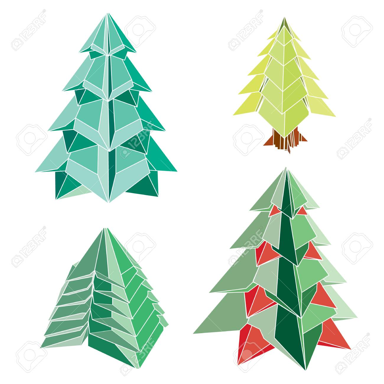 buy popular 32d32 0ce3b Christmas tree origami folding paper style vector on white background