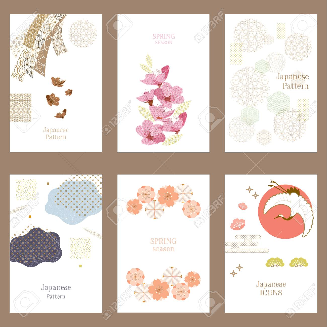 Japanese pattern vector background. Crane, ribbon, cherry blossom elements and icons. - 95361458