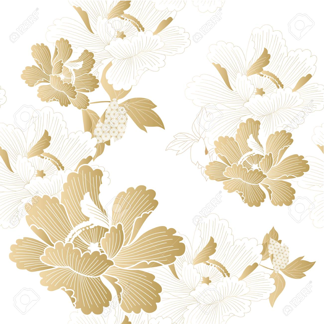 Gold floral pattern vector. Chinese flower background. - 99705516