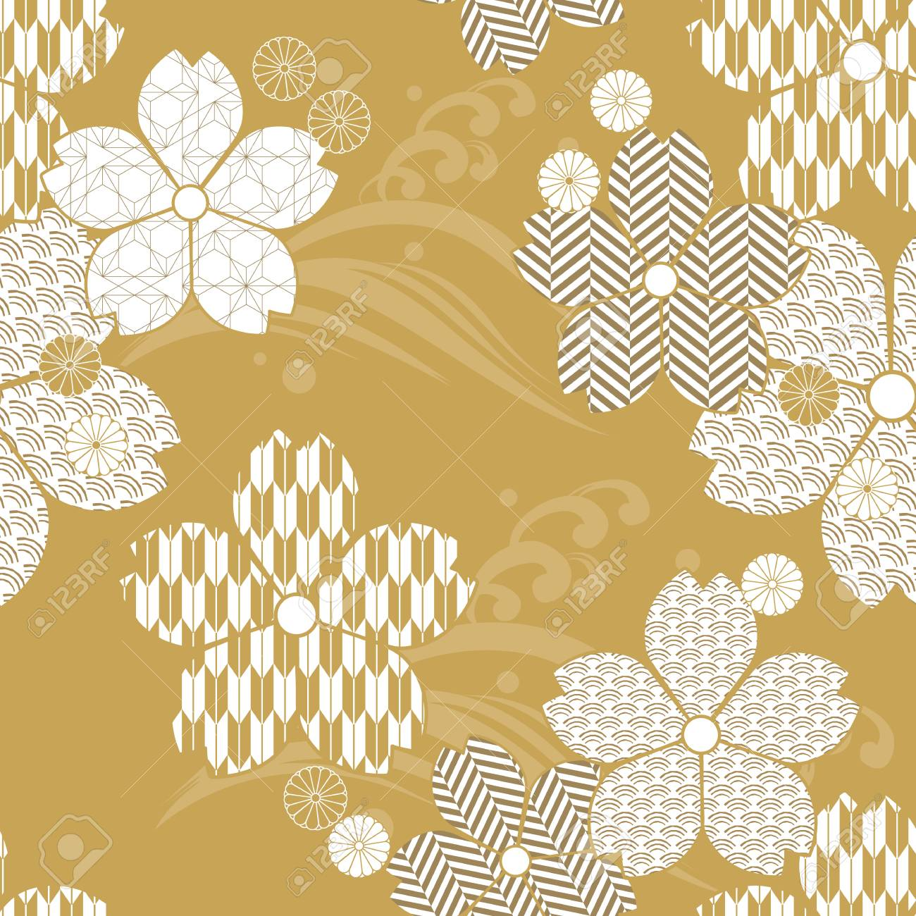 Gold Floral Pattern Vector With Japanese Texture Cherry Blossom