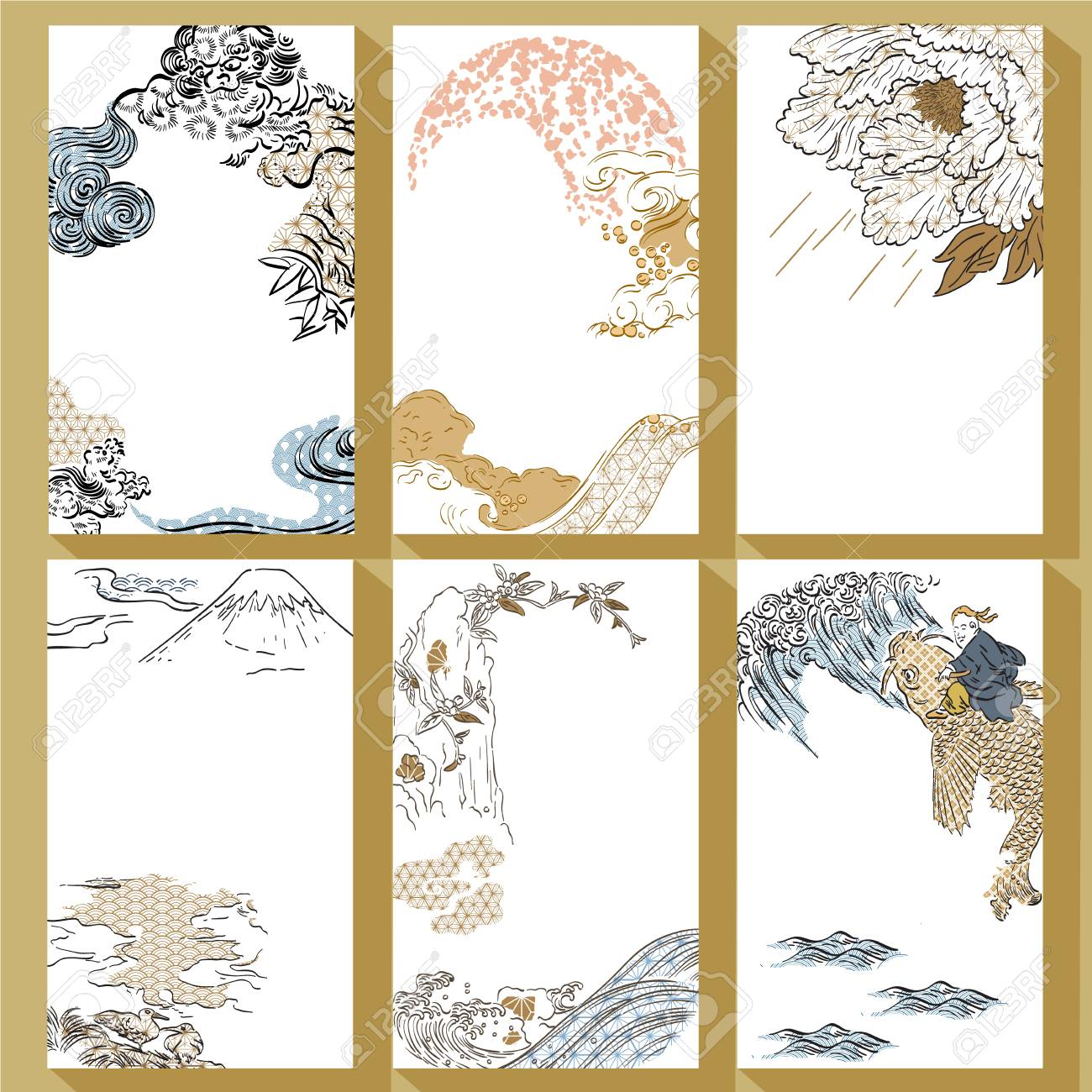 Japanese traditional template vector. Hand drawn brush stroke background. Lion, Fuji mountain, peony, wave, water, carp fish elements. - 106156417