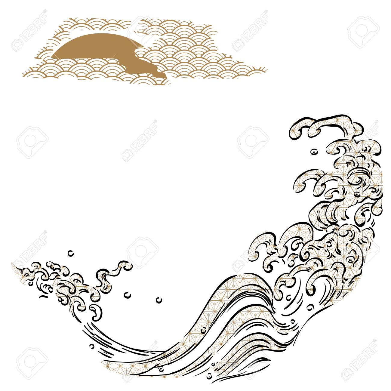 wave and moon template with pattern japanese background royalty