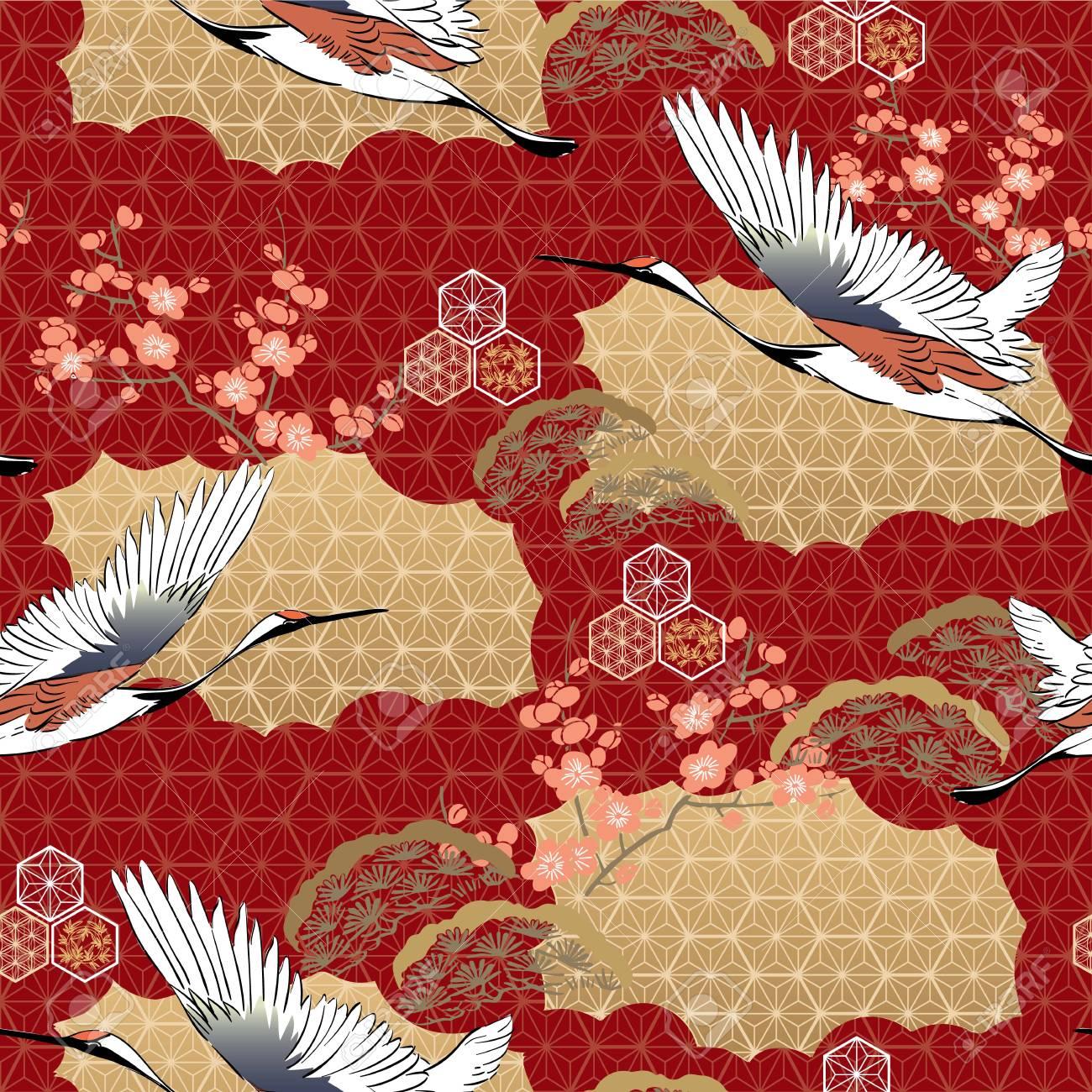Japanese Kimono Pattern Cherry Blossom Crane Birds Pine Tree Royalty Free Cliparts Vectors And Stock Illustration Image 120809484