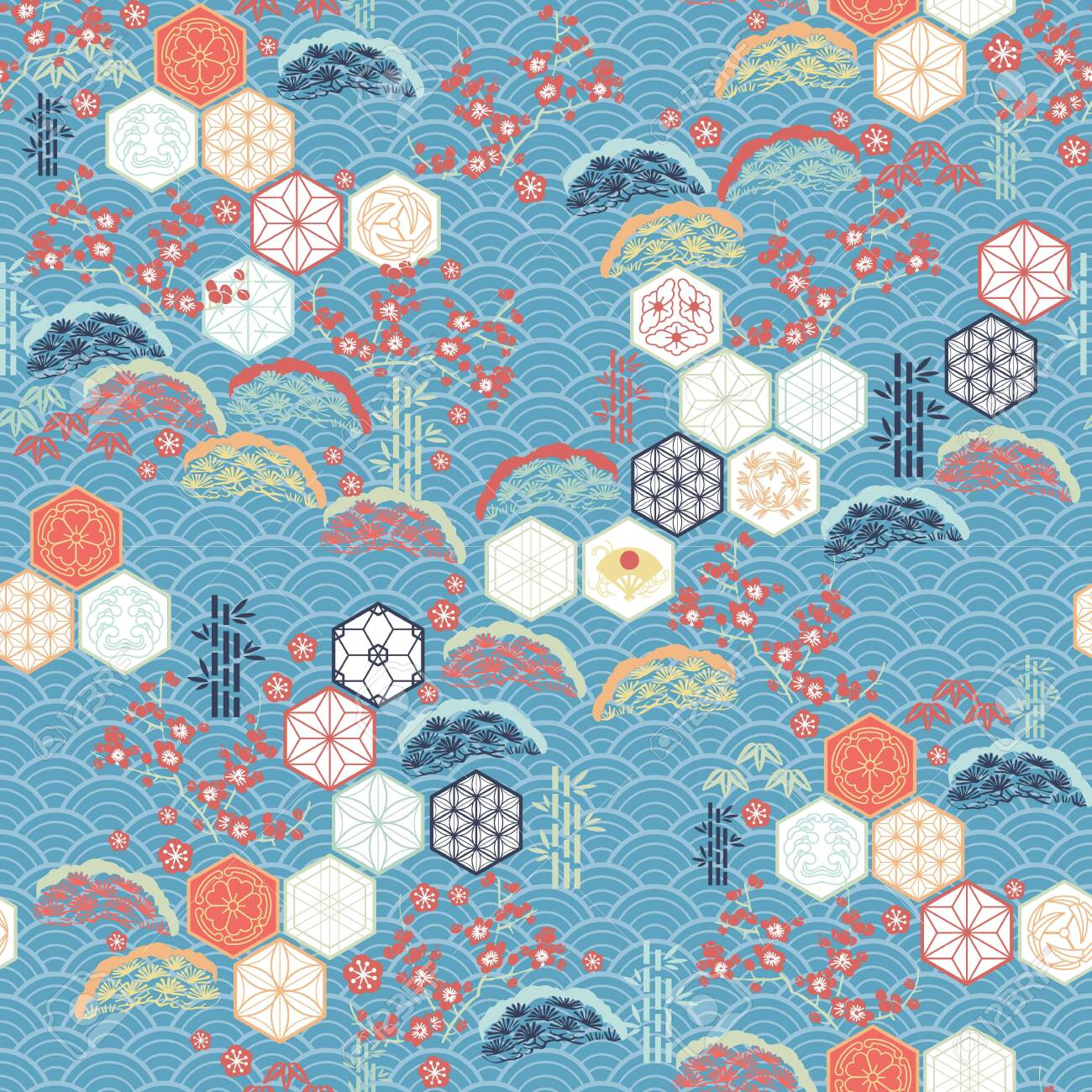 Japanese pattern vector. Cherry blossom flower, pine tree, Kumiko icons and bamboo elements motif background. - 120809485