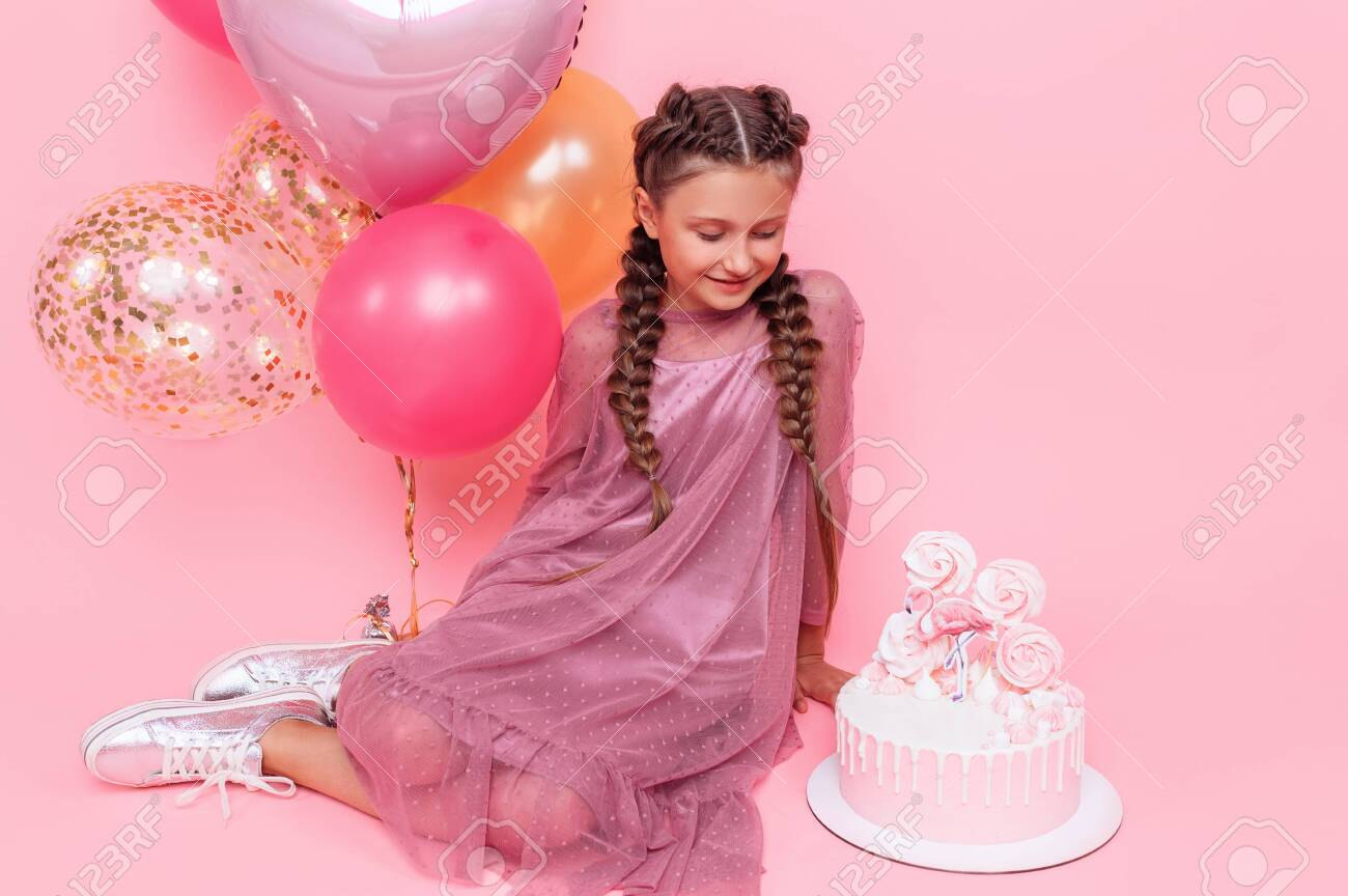 Prime Teenage Girl With Balloons And A Birthday Cake Posing On A Pink Funny Birthday Cards Online Inifofree Goldxyz