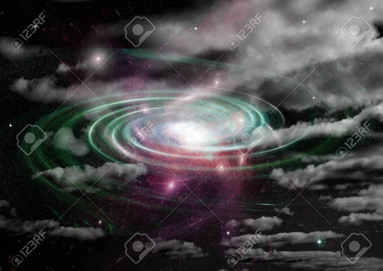 Stars of a planet and galaxy in a free space Elements of this image furnished by NASA. 3D rendering - 128307828