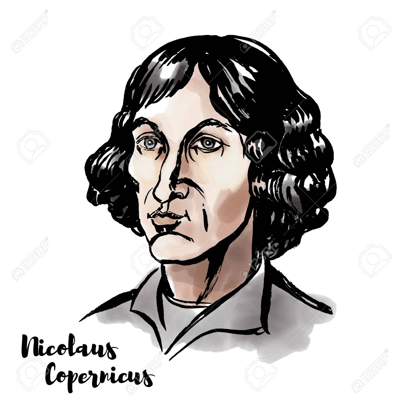Nicolaus Copernicus watercolor vector portrait with ink contours. Renaissance-era mathematician and astronomer who formulated a model of the universe. - 110435003