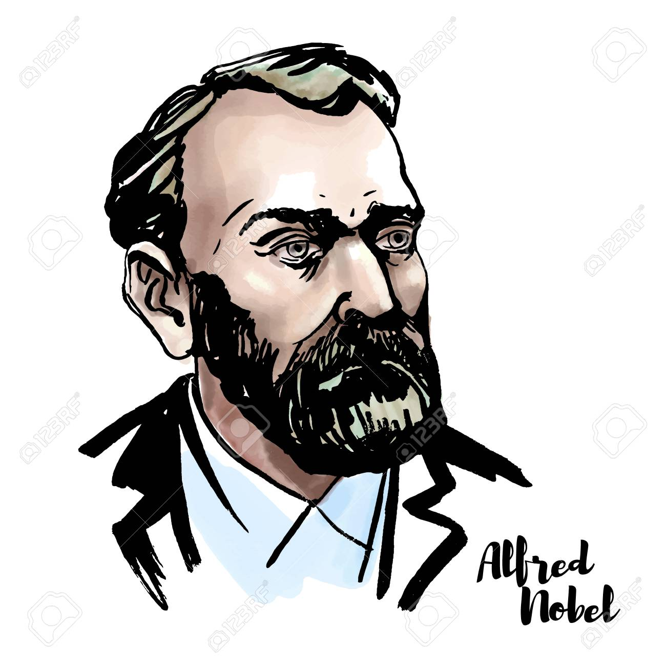 Alfred Nobel watercolor vector portrait with ink contours. Swedish chemist, engineer, inventor, businessman, and philanthropist. - 110435005