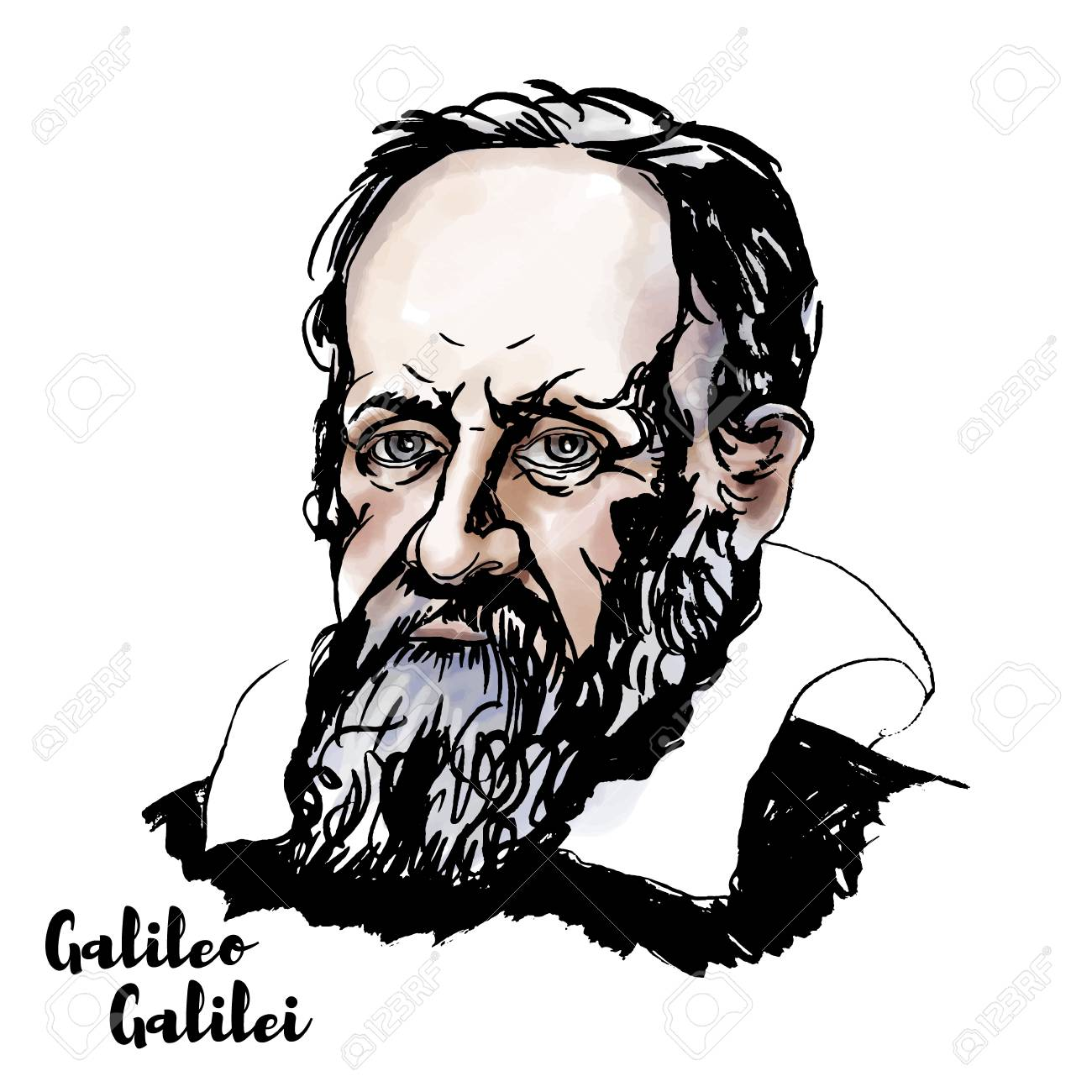 Galileo Galilei watercolor vector portrait with ink contours. The Italian polymath. - 110435006