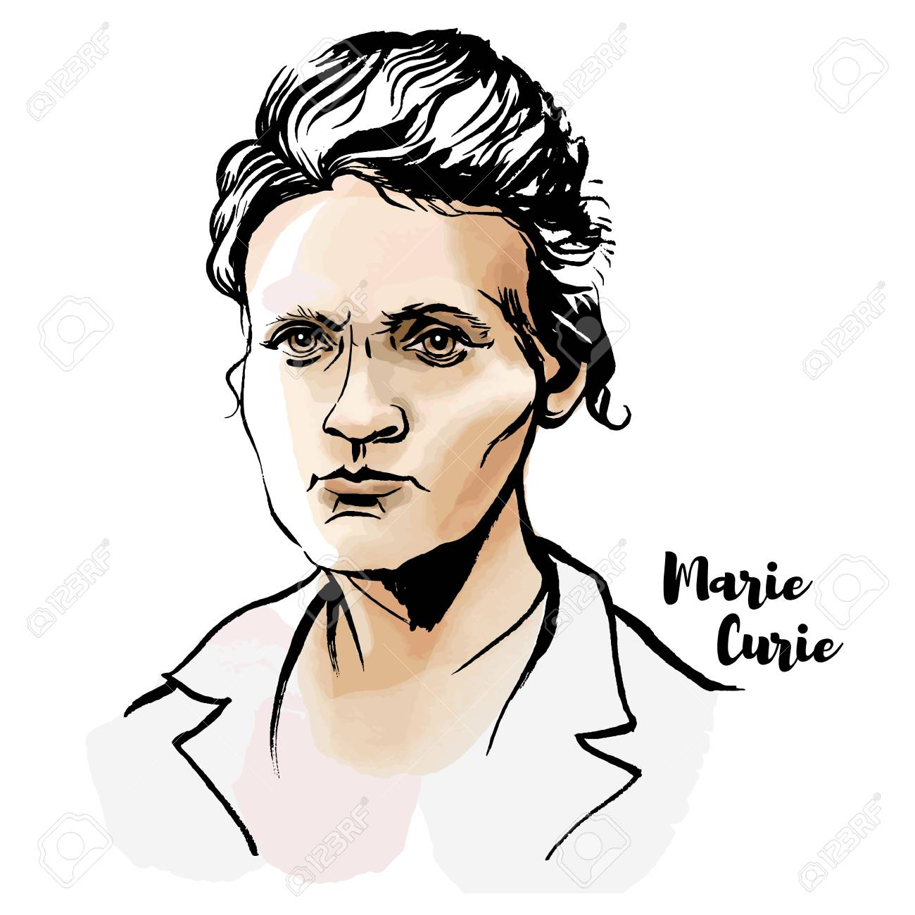 Marie Sklodowska Curie watercolor vector portrait with ink contours. The first woman to win a Nobel Prize. - 110435012