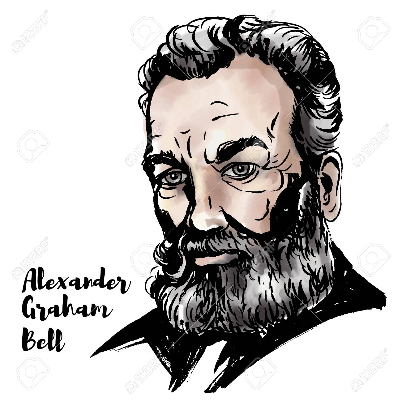 Alexander graham bell watercolor vector portrait with ink contours scottish born scientist inventor