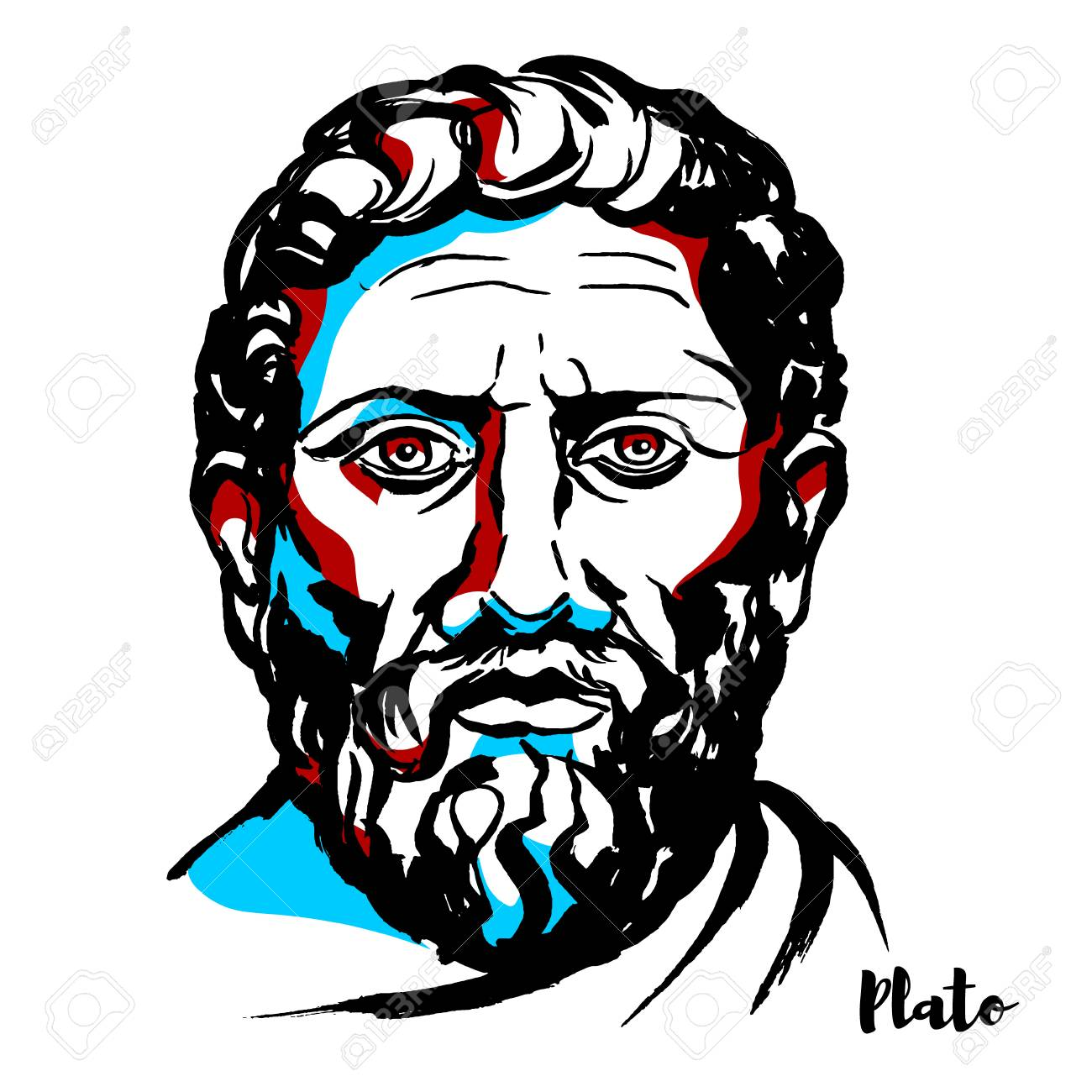 Plato engraved vector portrait with ink contours. Philosopher in Classical Greece and the founder of the Academy in Athens, the first institution of higher learning in the Western world. - 110296552