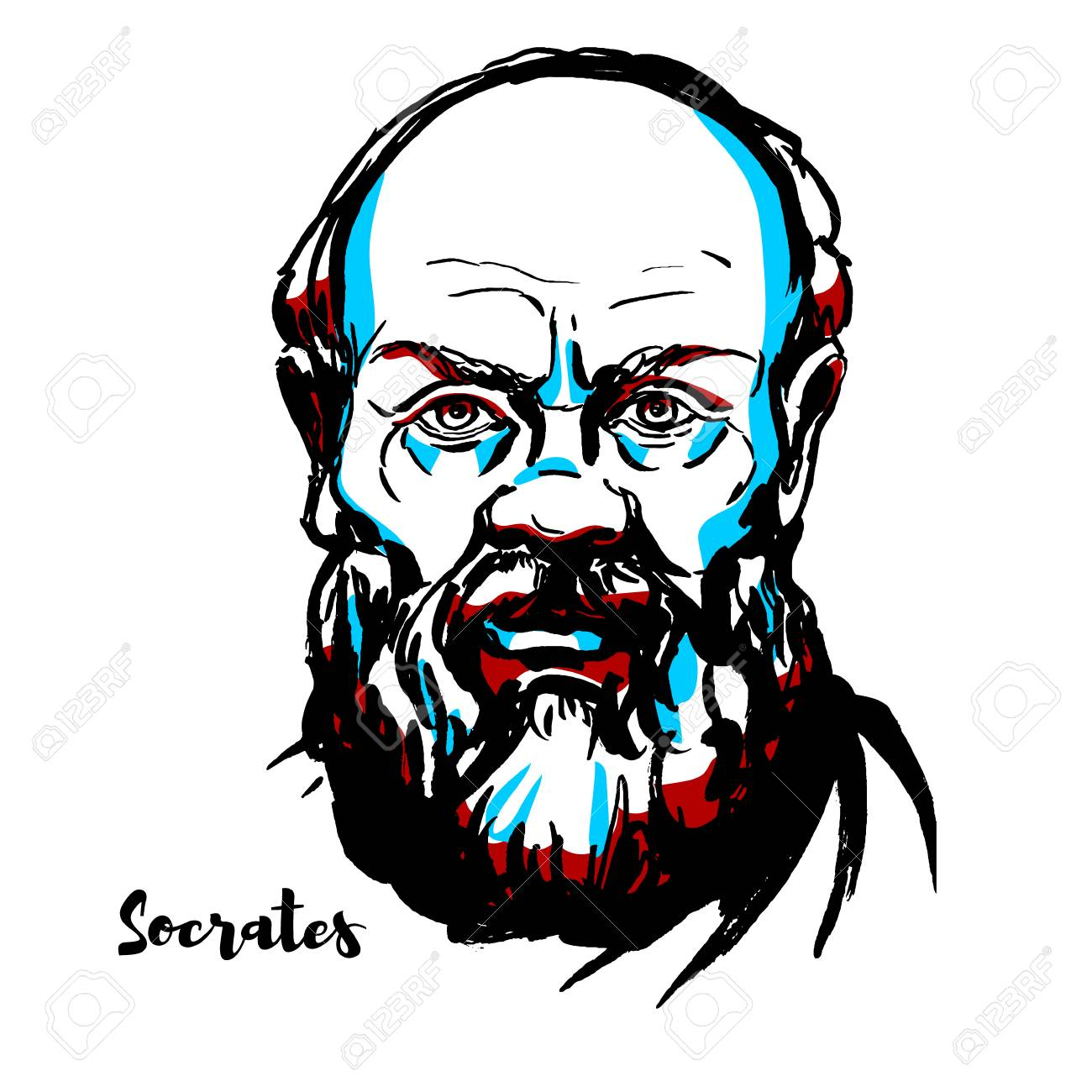 Socrates engraved vector portrait with ink contours. Classical Greek (Athenian) philosopher credited as one of the founders of Western philosophy, and as being the first moral philosopher,of the Western ethical tradition of thought. - 110296556