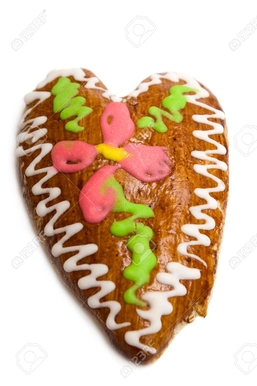 Gingerbread heart on white background Stock Photo - 5728616